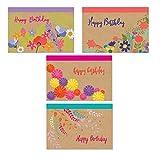 Assorted Happy Birthday Postcards - 4 Fun Birthday Designs - 4'' x 6'' Postcards