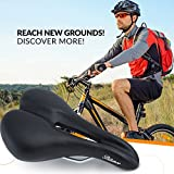 Bikeroo Most Comfortable Bike Seat for Men - Padded Bicycle Saddle for Men with Soft Cushion - Improves Comfort for Mountain Bike, Hybrid and Stationary Exercise Bike