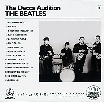 The beatles decca audition 1962 rare youtube.