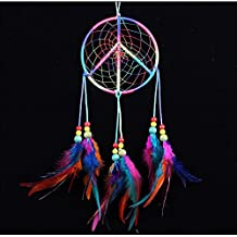 no!no! Peace sign Colorful Handmade Indian Style Real Feathers Dream Catcher Wall Hanging Car Hanging Decoration Ornament