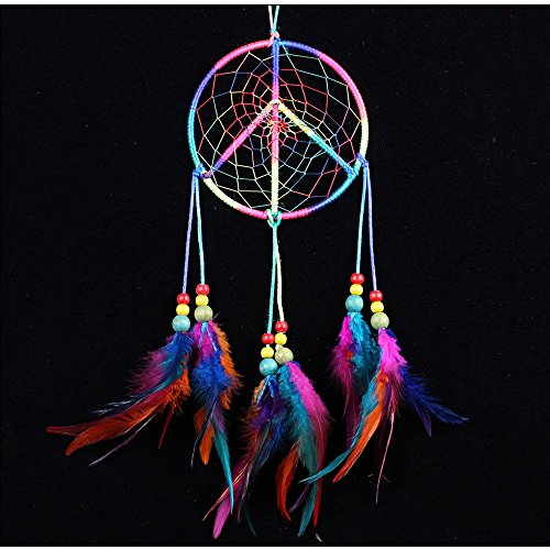 no!no! Peace Sign Colorful Handmade Indian Style Real Feathers Dream Catcher Wall Hanging Car Hanging Decoration -