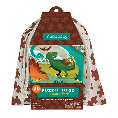 """(Mudpuppy Dinosaur Park Puzzle To Go, 36 Pieces, 12""""x9"""" – Great for Kids Age 3+ - Colorful Illustrations of Favorite Dinosaurs – Packaged in Travel-Friendly Drawstring Fabric Pouch – Perfect for Planes)"""