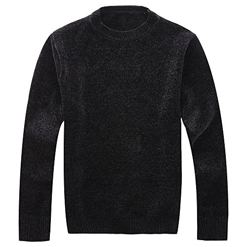 - Vcansion Men's Chenille Pullover Sweater Knitted Cardigan Soft Cozy Black Large