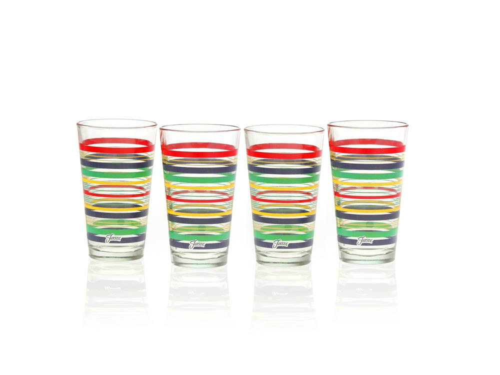 Fiesta Lapis Stripe 16-Ounce Tapered Cooler Glass (Set of 4) CULVER 185-032