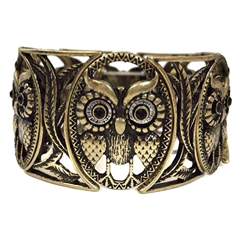 Burnished Antiqued Gold Tone Black Rhinestone Eyes Owl Stretch - Gold Vintage Dolphin Tone