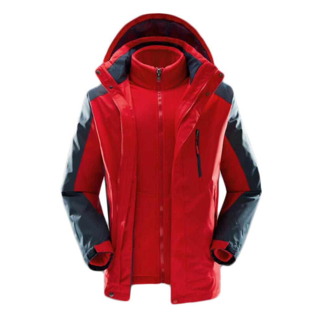 rouge L ZJEXJJ VêteHommests d'hiver en Coton épais pour Hommes en Vrac Grande Veste d'hiver Trois-en-Un Veste Veste d'hiver (Couleur   rouge, Taille   XXL)