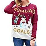 WOCACHI Final Clear Out Womens Blouses Christmas Letter Print Snowman Sweatshirt Tops Pullover Black Friday Cyber Monday Winter Autumn Xmas Reindeer Bottoming Shirts Red