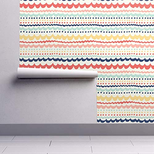 (Peel-and-Stick Removable Wallpaper - Colorful Scallop Stripes Stripe Scallop Nursery Decor Scallop Girl by Stacyiesthsu - 24in x 108in Woven Textured Peel-and-Stick Removable Wallpaper Roll)