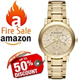Burberry LUXURY Gold 2014 Womens Unisex Men The City Chronograph Watch BU9753