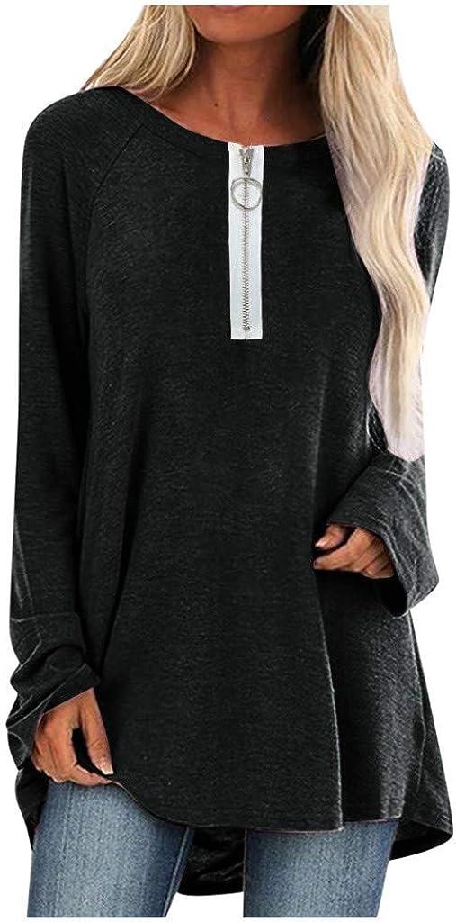 Reooly Camiseta de Manga Larga con Cuello en V y Talla Grande para Mujer