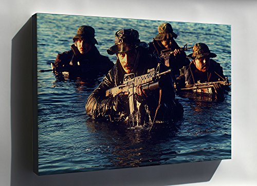 Rifle Grenade Launcher - Canvas 24x36; Us Navy Seals The Seal M-16A1 Rifle M203 Grenade Launcher. Mp-5 Submachine Gun