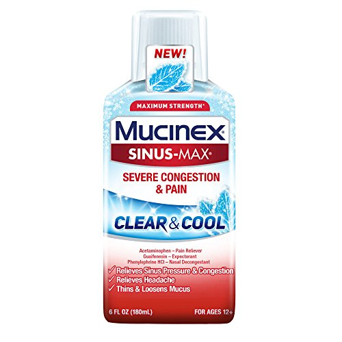 Mucinex Sinus-Max Clear & Cool Max Strength Severe Congestion & Pain Liquid, (Mucinex Nasal Congestion)