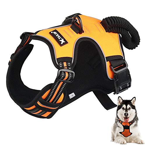baobë Adjustable Outdoor Pet Vest Light Weight Dog Harness Dogs Leash Set with Reflective Oxford Material for Large Medium Dogs Outdoor Training Walking (organge)
