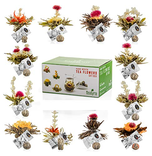 Tealyra - 12 pcs Blooming Flowering Tea - 12 Variety Flavors of Finest Blooming Teas – All Tea Balls Individually Sealed - Great Gift Bloom Teas Box -
