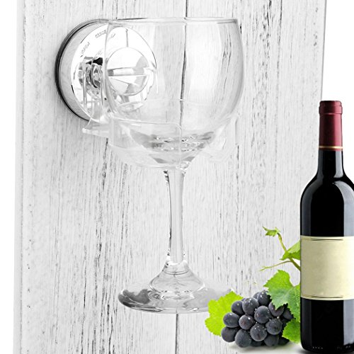 Unpara Portable Wine Glass Pothook Bath & Shower Kitchen Suction Cupholder Caddy for Beer & Wine Goblet Sucker Cup Holder