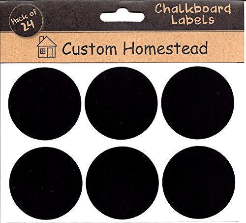 Circle Chalkboard Labels Set of 24 - Round Blackboard Stickers Perfect for Mason Jars, Spice Racks, Wine Glass Markers, Pantry and Kitchen Organization, & So Much More