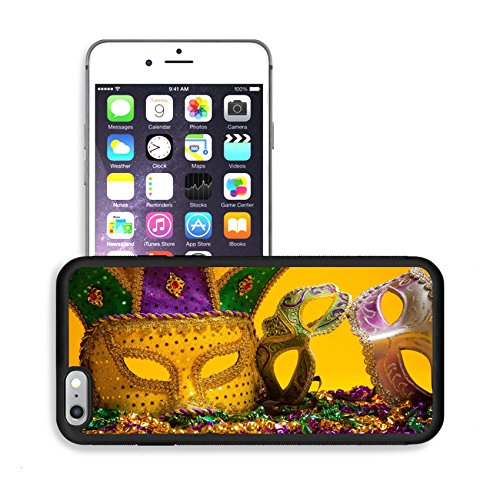 Review Jester Costume (Luxlady Premium Apple iPhone 6 Plus iPhone 6S Plus Aluminum Backplate Bumper Snap Case IMAGE ID: 26091100 A festive colorful group of mardi gras or carnivale mask on a yellow)