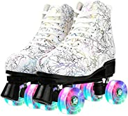 Gets Classic Roller Skates, Soft Leather High-top Four-Wheel Roller Skates for Adult, Boys, Girls with Portabl