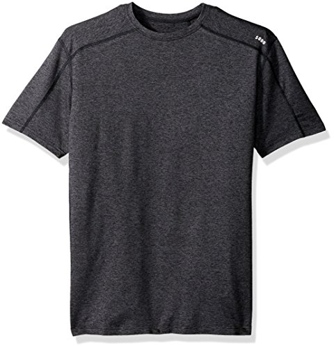 (SODO Mens Short Sleeve Cooldown Shirt- Heather/Charcoal/Black- Large)