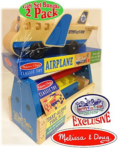 Melissa & Doug Wooden Take-Along Tool Kit (24pcs) & Classic Wooden Airplane Exclusive