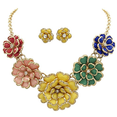 Gypsy Jewels 5 Flower Large Bib Necklace & Stud Post Earring Set (Bright Multi Color)