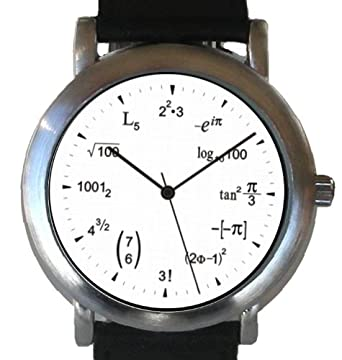 """""""Math Dial"""" Watch Shows Math Equations At Each Hour Indicator on the White"""