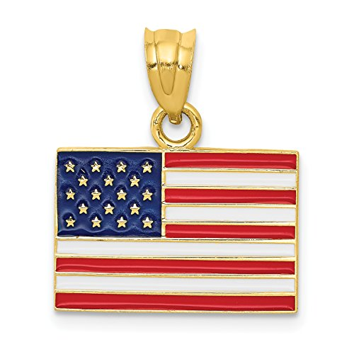 14k Yellow Gold United States American Flag Colored Pendant 19x17mm