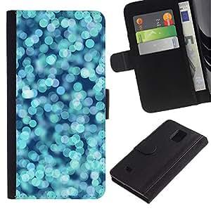 Planetar® Modelo colorido cuero carpeta tirón caso cubierta piel Holster Funda protección Para Samsung Galaxy Note 4 IV / SM-N910 ( Agua Azul Océano Pera brillante)