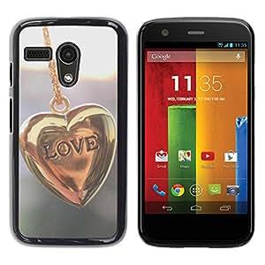 TopCaseStore / la caja del caucho duro de la cubierta de protección de la piel - Love Gold Love - Motorola Moto G 1 1ST Gen I X1032