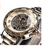 SEWOR Men's Classic Skeleton Stainless Steel Mechnical Watch with Link Bracelet