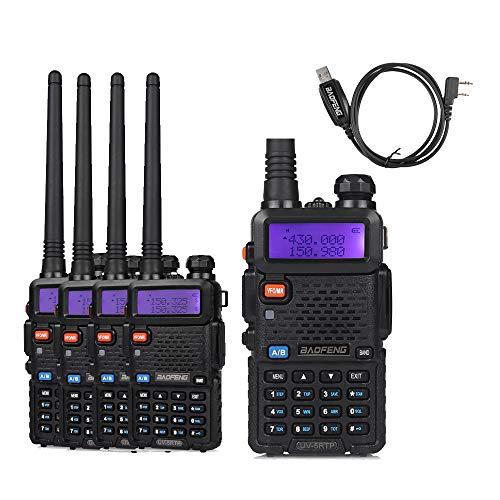 5 Pack Baofeng UV-5RTP Tri-Power 8W/4W/1W UHF VHF Dual Band High Power Two-Way Radio Transceiver + 1 Programming Cable (Handheld 250g Way 2 Vhf)