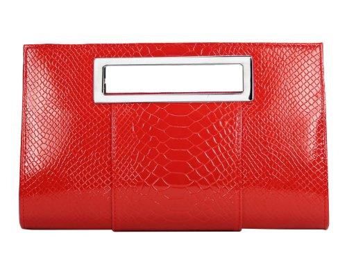 YMB Women's Elegant Handbag Crocodile Print Purse Evening Party Shoulder Bag Red -