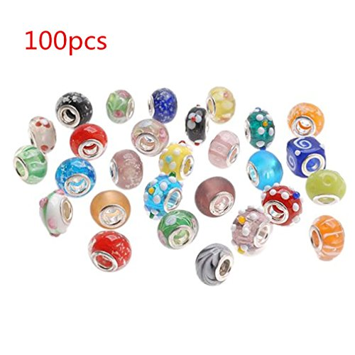 100pcs Mix Silver Plate Multicolored Murano Beads Charm Lampwork Charm Glass Beads Tibetan Crystal Beads Fit for Snake Chain bracelet and European Bracelet by TheBigThumb (Lampwork Glass Crystal)