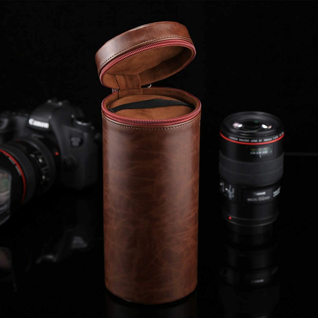 Size: 24.510.510.5cm Color : Coffee JINYANG JINYANG Bag Extra Large Lens Case Zippered PU Leather Pouch Box for DSLR Camera Lens Black