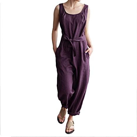 03748ad0d65 Amazon.com  Helisopus Women s Linen Overalls Baggy Adjustable Strap Jumpsuits  Casual Loose Wide Leg Rompers  Clothing