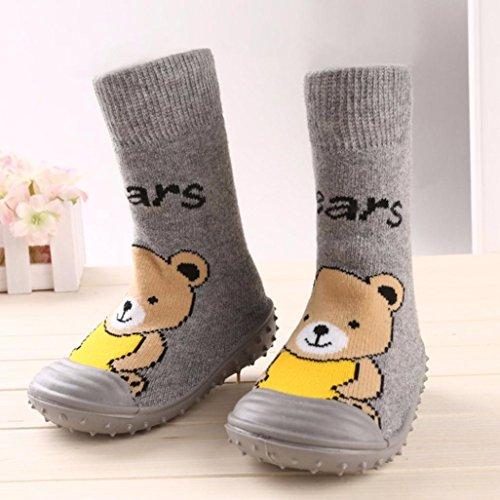 Sunnyoyo Nette 1-4 Jahre alt Neugeborenes Baby-kreativer Karikatur-Bodenbelag rutschfeste Sohle von Gummi-weichen Schuhen Sneaker Grau