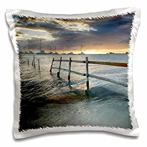 Danita Delimont - Oceans - Caribbean, BVI, Anegada. Old fence running into the ocean. - 16x16 inch Pillow Case (pc_208744_1)