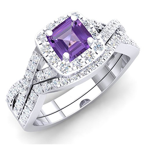 - Dazzlingrock Collection 1.55 Carat (ctw) 14K Amethyst & White Cubic Zirconia Ring Set 1 1/2 CT, White Gold, Size 7