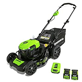 "GreenWorks MO40L2512 Electric Lawn Mower, 40V 21"" Batteries Included 31 Includes (2) 2.5 AH - 40V Lithium Batteries Durable 21'' Steel Deck lets you Mulch, Bag, or Side Discharge allowing you to maintain your yard the way you want it Our dual battery port design enables one battery to be stored while the other fuels the mower for uninterrupted cutting; saving a you a trip to the garage"