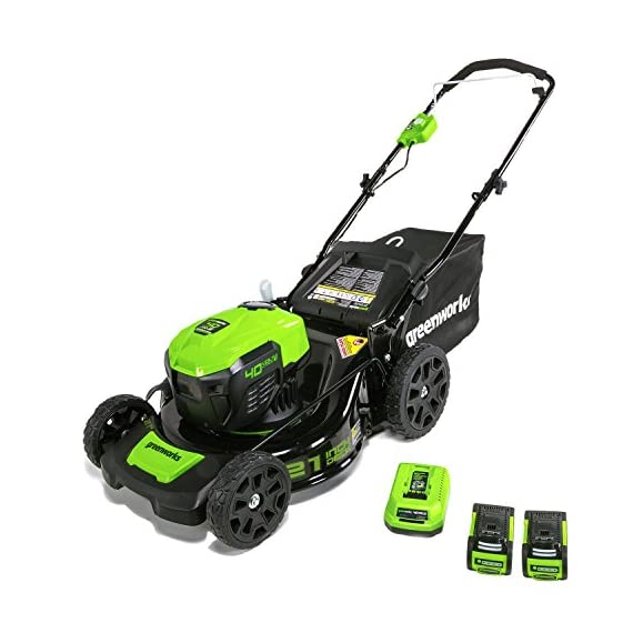 greenworks 40V 21 inch Brushless Dual PH Mower with Two 2.5AH Batteries and Charger, MO40L2512 1 Includes (2) 2.5 AH - 40V Lithium Batteries Durable 21'' Steel Deck lets you Mulch, Bag, or Side Discharge allowing you to maintain your yard the way you want it Our dual battery port design enables one battery to be stored while the other fuels the mower for uninterrupted cutting; saving a you a trip to the garage