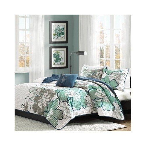 Modern Quilt Bedding Set Blue Green Floral with a Pillow
