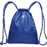 AoFeng Cinch Sacks Gym Sacks Sport Backpack Athletic Portable Drawstring Bag Basketball Sack for Boys Girls Blue