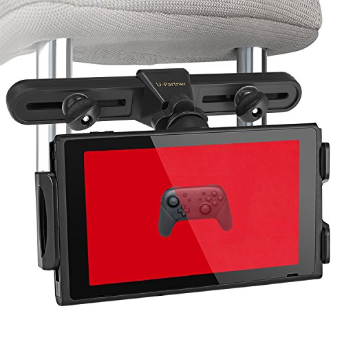 U-PARTNER Car Headrest Mount Holder with 360 Degrees Rotation for Nintendo Switch,iPad,iPad air,iphoneX,iphone 8/7,Samsung Galaxy S8,S8 plus,and more...(The Second Generation) (Use U-joints)