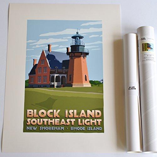 Block Island Southeast Light, Rhode Island Print (18x24 Lighthouse Travel Poster, Wall Decor Art)