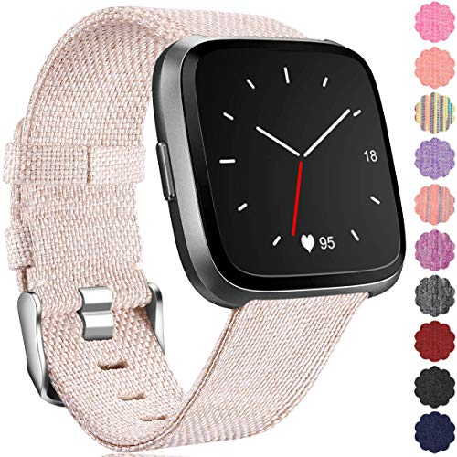 Maledan Replacement for Fitbit Versa Bands, Large, Beige ()