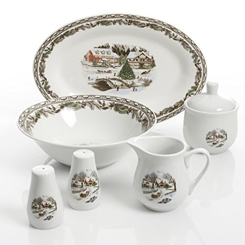 Toile Plate Porcelain (Gibson Home 99824.07R Christmas Toile, 7 PC Serving Set, White)