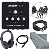 Samson QH4 4-Channel Headphone Amplifier Bundle with Samson Stereo Headphones + Cables + Fibertique Cleaning Cloth