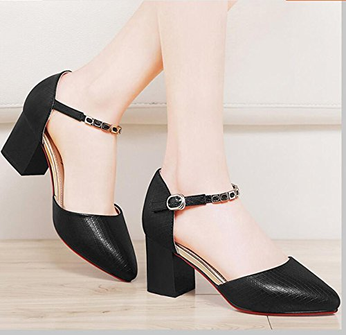 KHSKX-Las Mujeres Solteras Negro Nueva Primavera Zapatos Con Punta Audaces Light-Wild Trabaja Con Zapatos De Mujer Y 38 40
