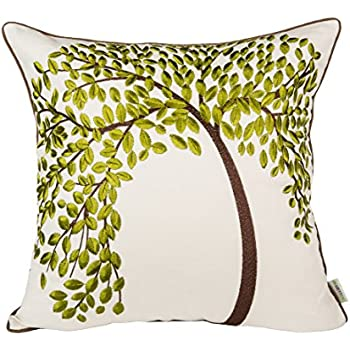 """BLUETTEK 18"""" X 18"""" Embroidered Cotton Linen Decorative Throw Pillow Cover Cushion Case Pillow Case - The Tree of Life (Green with Frame)"""