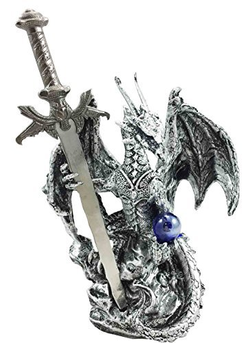 Legendary Silver Dragon Carrying Magical Orb and Excalibur Sword Letter Opener Figurine Sculpture ()